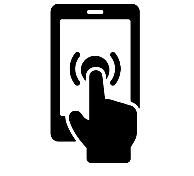 icon finger on mobile device